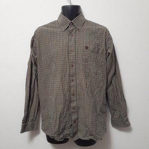 Cinch Pocket Button Down Plaid Mens Dress Shirt